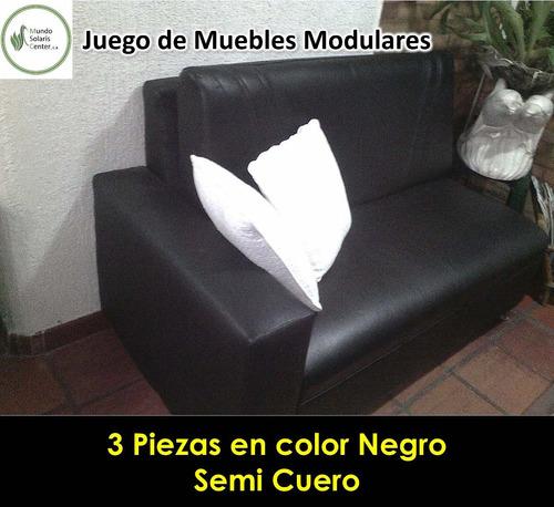 juego de mueble modular 3 piezas negro semi cuero