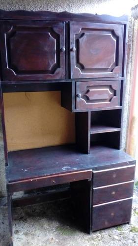 juego de muebles, biblioteca y escritorio de madera caoba