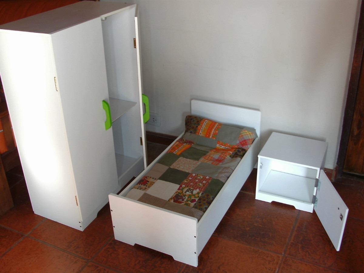 Juego De Muebles Cama Ropero Cocina Infantil De Juguete - $ 3.400,00 ...