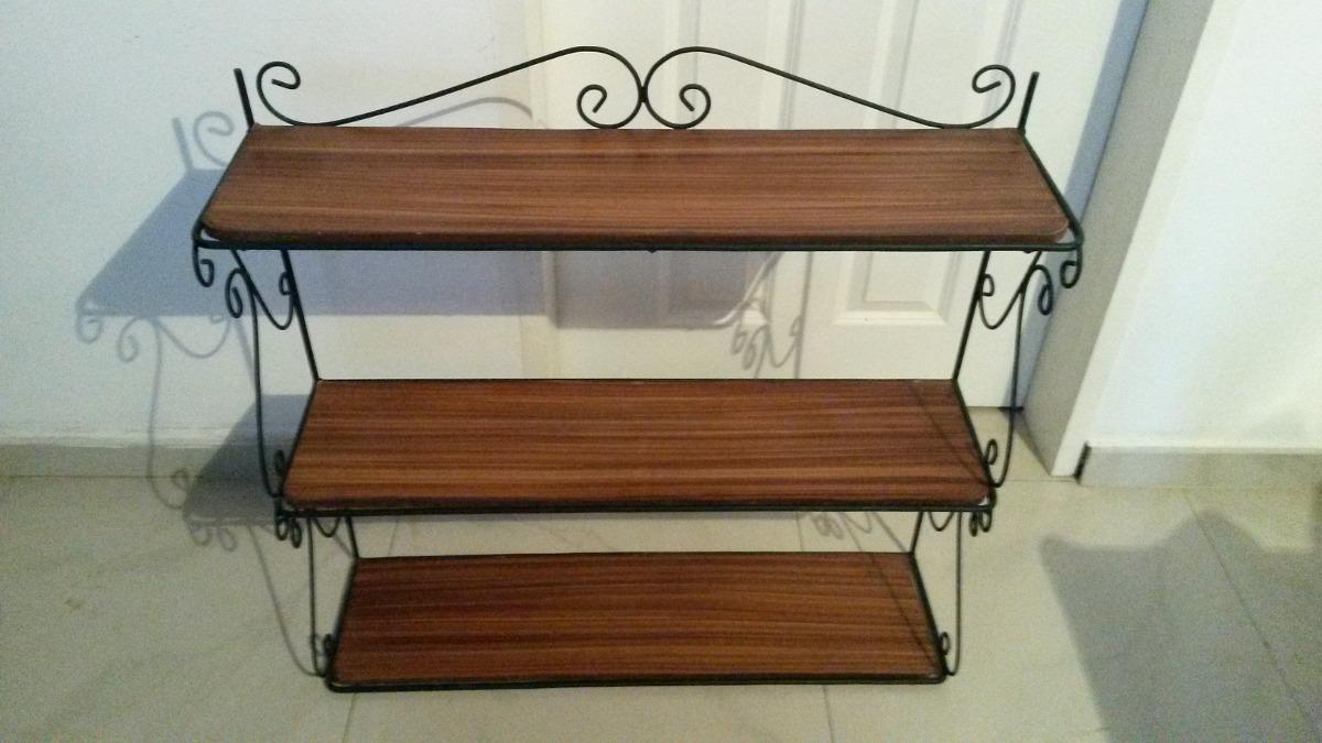 Juego de muebles de madera con hierro forjado bs for Muebles de hierro forjado