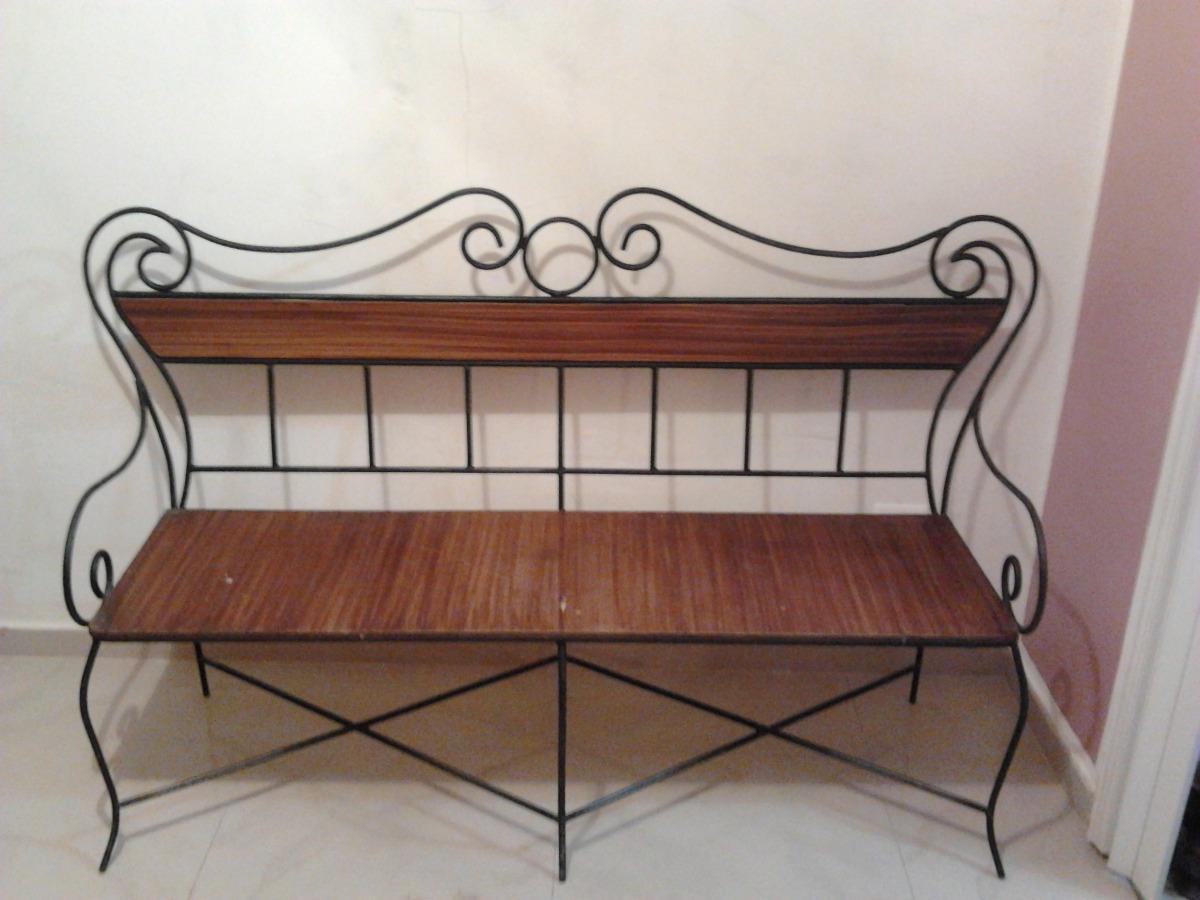 Juego de muebles de madera con hierro forjado bs for Muebles de fierro forjado
