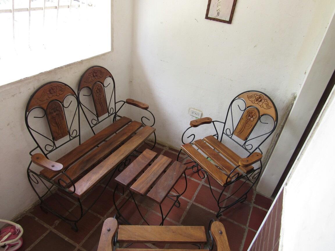 Juego de muebles en hierro forjado y madera bs 0 01 en for Muebles de fierro forjado