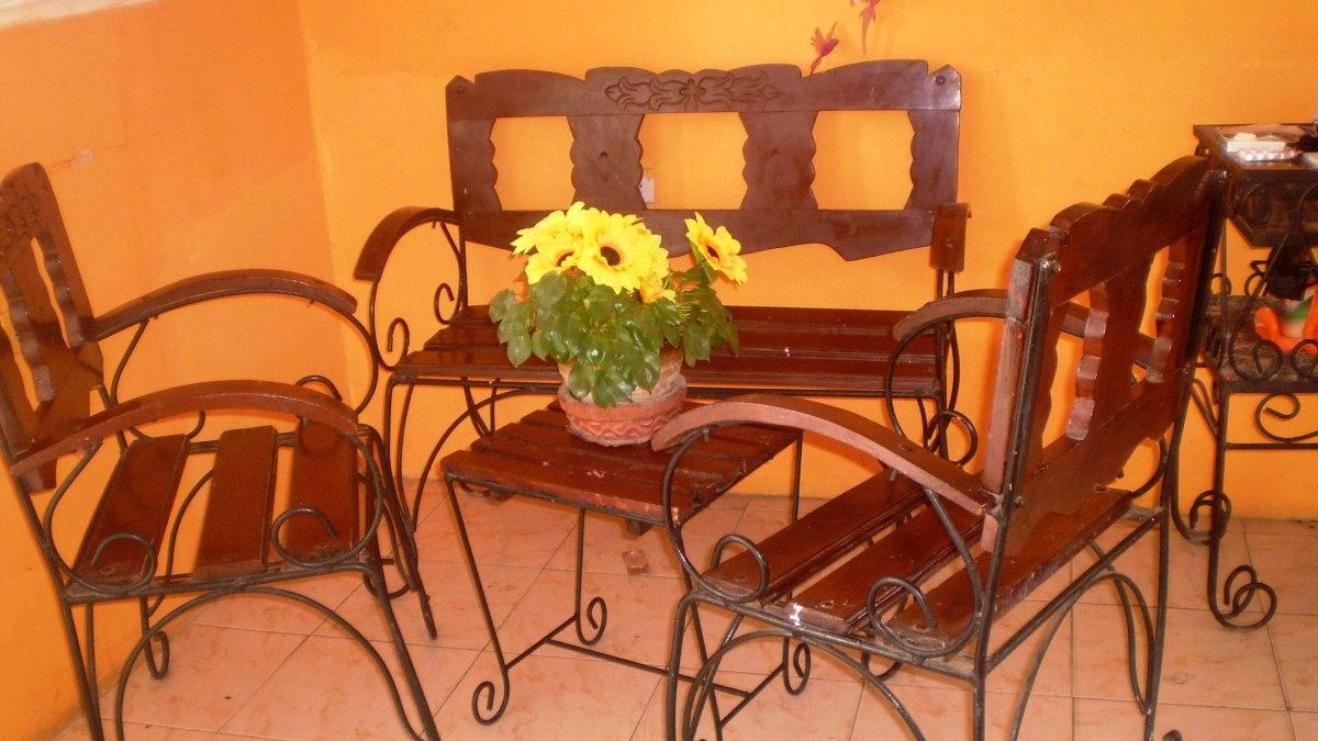 Juego de muebles en madera y hierro forjado bs - Muebles de madera y hierro ...