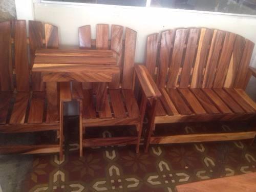 Juego de muebles sala porche rusticos madera sillas recibo for Muebles porche