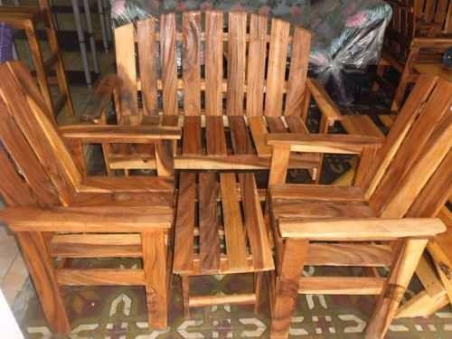 Juego de muebles sala porche rusticos madera sillas recibo for Muebles sillas de madera
