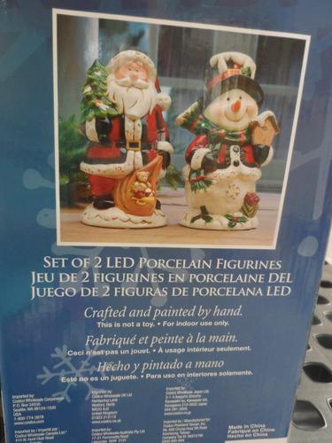juego de muñeco de nieve y santa pintado a mano led