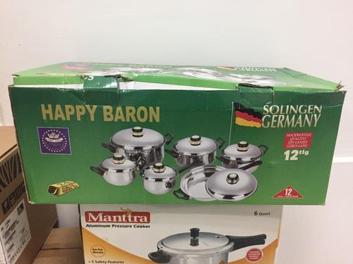 juego de ollas 12 pz happy baron ( tapas de acero) - germany