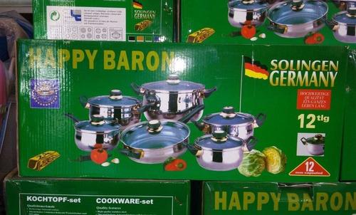 juego de ollas 12 pz happy baron ( tapas devidrio) - germany
