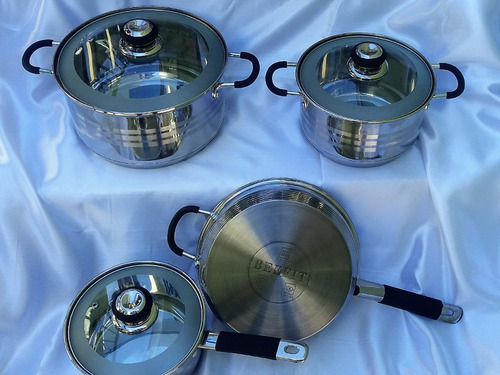 juego de ollas 7 piezas beefit   acero 18/10 gas , inducción