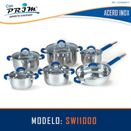 juego de ollas prim 12 pzas en acero con mango de silicone