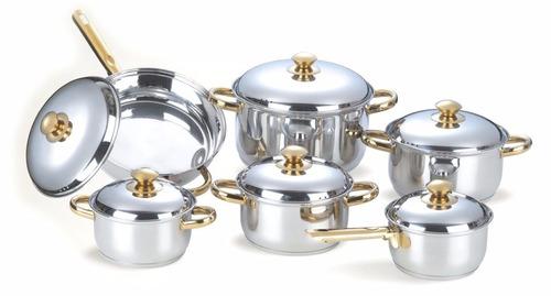 juego de ollas prim 12 pzas en acero con mango dorado t/acer