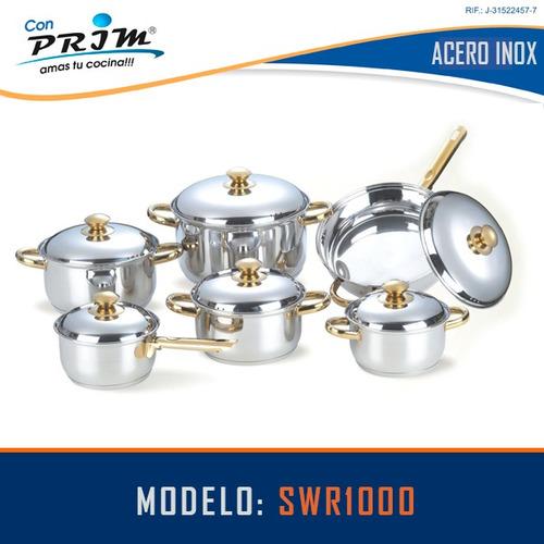 juego de ollas prim 12 pzas en acero con mango dorado t/vidr