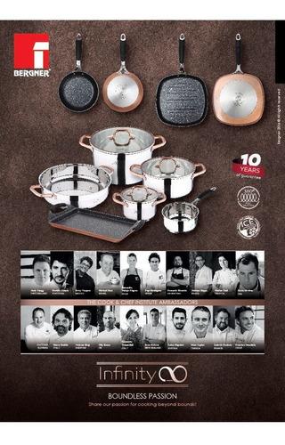 juego de ollas y sarten en acero y cerámica. bergner europeo
