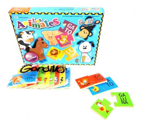 juego de pares madera gordillo los animales aprender letras