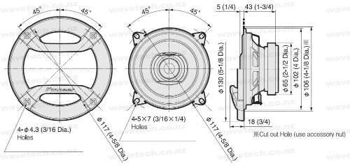 juego de parlantes pioneer ts-f1034r 2 vías 4 pulgadas 150w