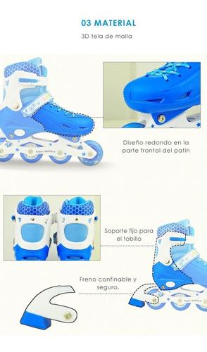 juego de patines en línea con destello para niños talla sml