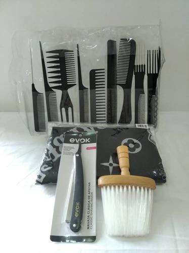 juego de peines de 10 + capa de barberia+ navajas  y brocha