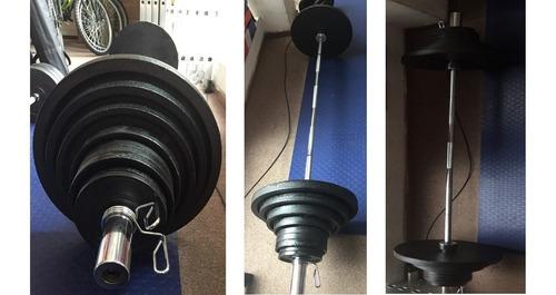 juego de pesas olimpico 140kg, barra larga, discos, seguros