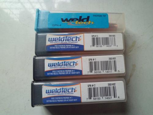 juego de picos oxicorte weldtech nuevos #1, #2, #3, #4 y #5.
