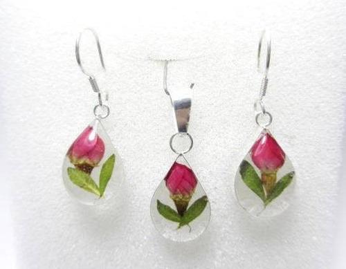 juego  de plata con rosas miniatura modelo gota