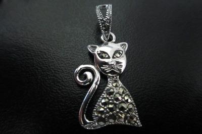 juego de plata de gatos c/ marquesita ( marcasita )