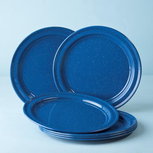juego de plato base de peltre, 6 piezas azul