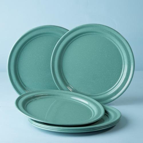 juego de plato base de peltre, 6 piezas menta