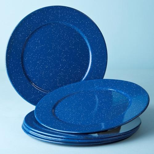 juego de plato base de peltre con ala, 6 piezas azul