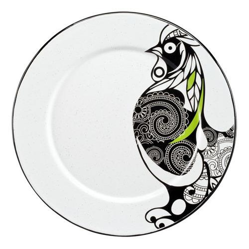 juego de plato base de peltre decorado con ala, 6 piezas