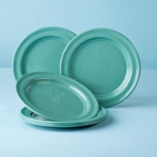 juego de plato ensalada de peltre, 6 piezas menta