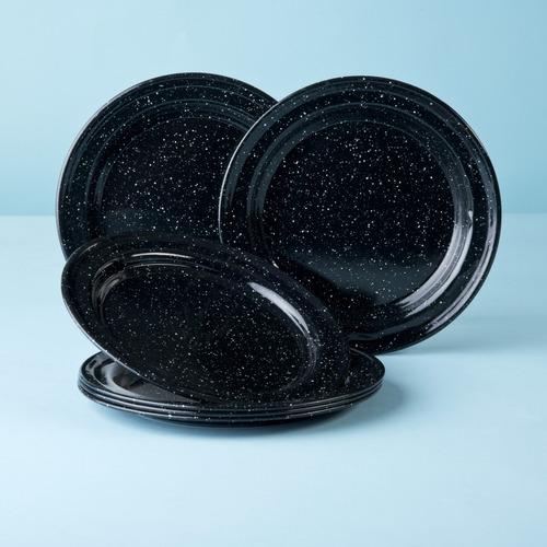 juego de plato ensalada de peltre, 6 piezas negro