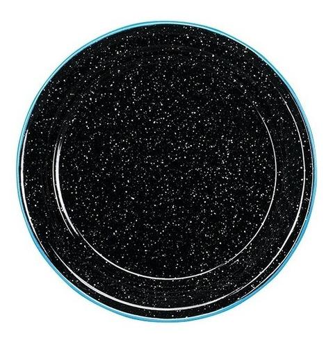 juego de plato ensalada de peltre, 6 piezas negro borde azul
