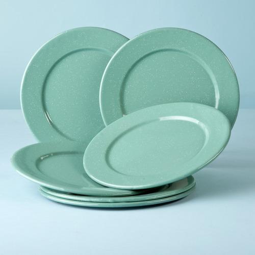 juego de plato ensalada de peltre con ala 6 piezas menta