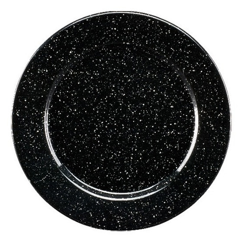 juego de plato ensalada de peltre con ala 6 piezas negro