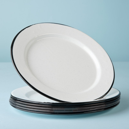 juego de plato principal de peltre con ala, 6 piezas blanco