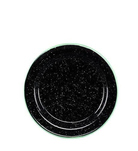 juego de plato principal peltre 6 piezas negro borde verde