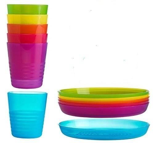 Juego De Platos Y Vasos Infantiles De Colores Marca Ikea 40000 - Colores-ikea