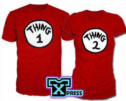 juego de playeras o camisetas cosa 1 y cosa 2 thing