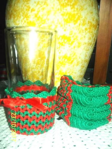 juego de portavasos tejidos a mano