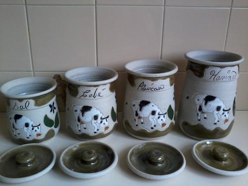 juego de potes de cocina de gres artesanal