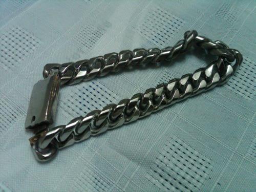 juego de pulcera y cadena eslabon mediana acero inoxidable
