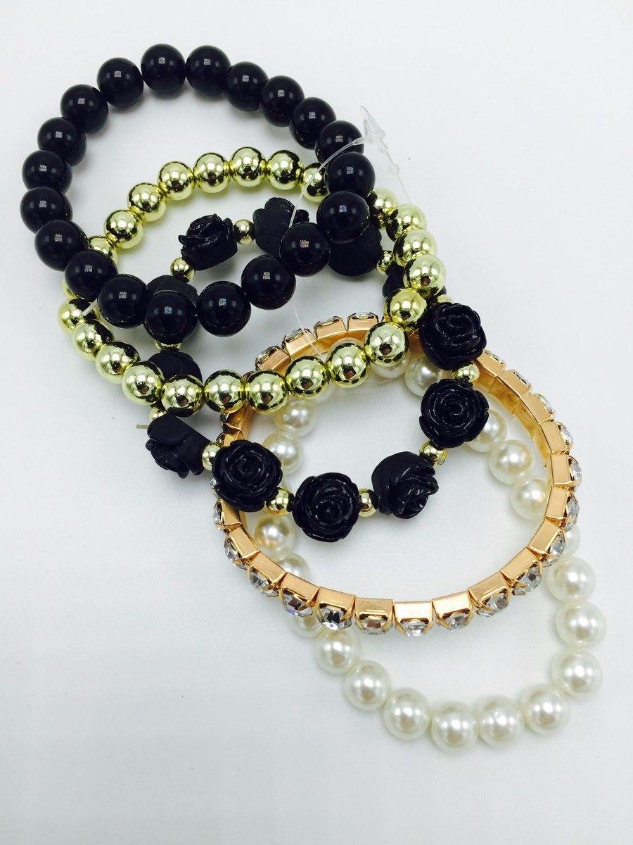 6f77ea1d3773 juego de pulseras perlas blancas negras y doradas diamantes. Cargando zoom.