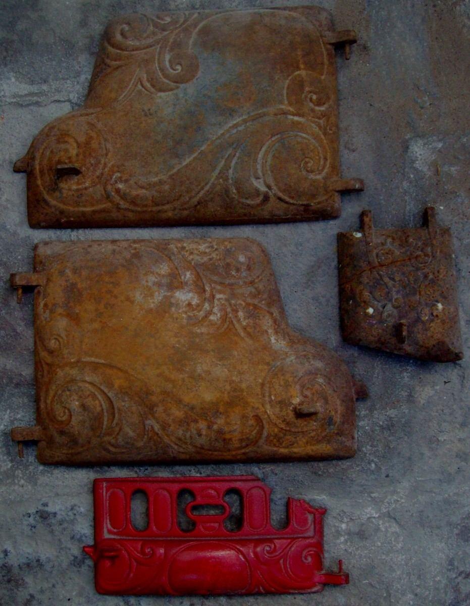 Juego de pzas de antigua estufa de le a de fundici n maa - Estufa de lena ...