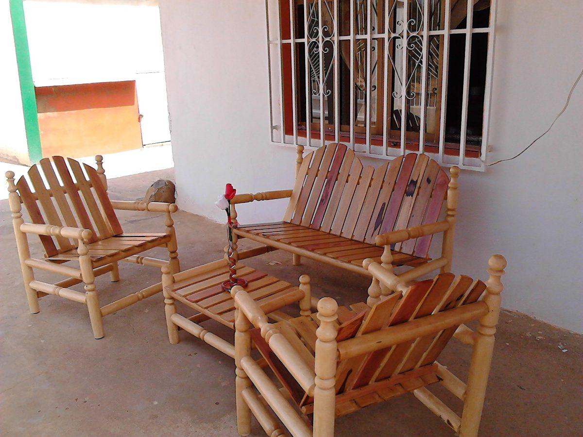 Juego de recibo o sala en madera bs en mercado for Muebles de sala madera