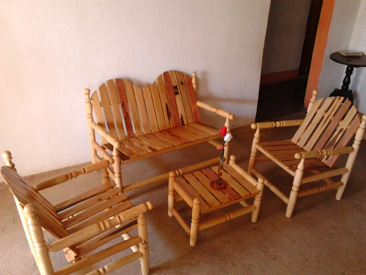 Juego de recibo o sala en madera bs en for Juego de sala precios