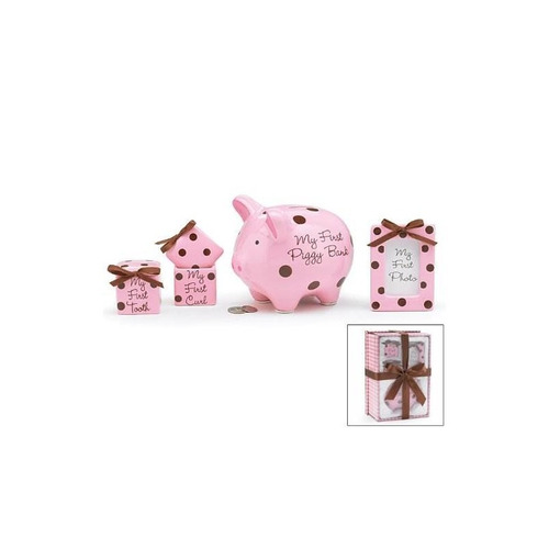 juego de regalo para niña de 4 piezas con hucha, primer rizo