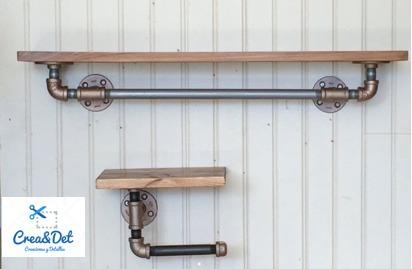 Juego de repisas para ba o vintage tubo industrial for Banos vintage industrial