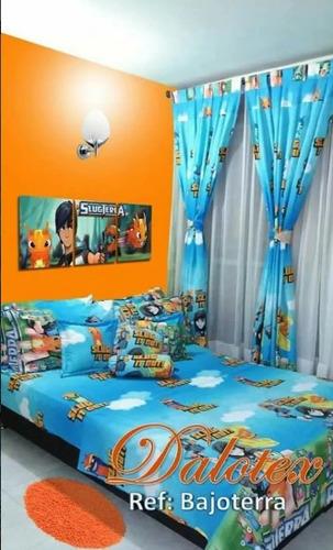 juego de sabana más cortinas infantil y cubrelecho