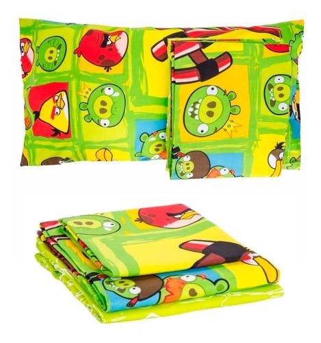 juego de sábanas angry birds 1 1/2 plaza twin 3 piezas