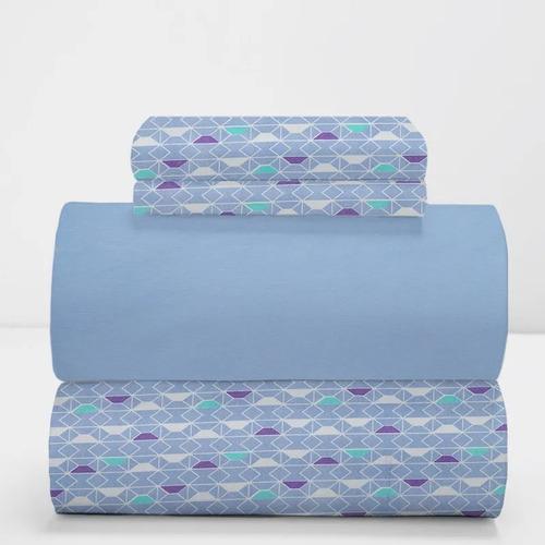 juego de sábanas  arredo queen size micro rayas rombos azul